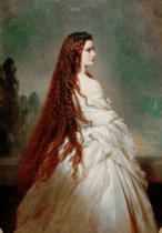 Franz Xavier Winterhalter - Empress Elisabeth with loose hair in a Neglige