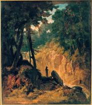 Carl Spitzweg - Forest Landscape with Waterfall and Capuchin Monk