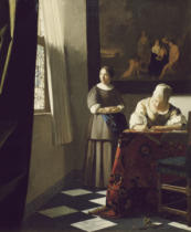 Jan Vermeer van Delft - Woman writing a letter and maid