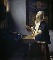 Jan Vermeer van Delft - Woman weighing pearls / c.1664