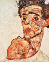 Egon Schiele - Selfportrait with naked shoulder pulled up