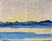 Ferdinand Hodler - Lake Geneva with Mount-Blanc at Sunrise