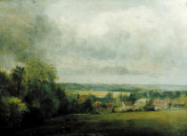John Constable - Higham Village am Flusse Stour