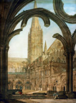 Joseph Mallord William Turner - South view from the cloisters, Salisbury Cathedral
