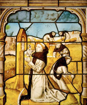 Glasmalerei - St. Bernard of Clairvaux prays during the harvest