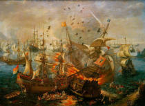 Cornelis Claesz van Wieringen - Explosion of the Spanish Admiral Ship...)