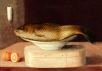 Sebastian Stosskopf - Stilllife with carp and small wooden box