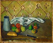 Paul Cézanne - Nature morte (Fruits, serviette et boit à lait)