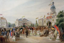 Ferdinand Rothbart - The arrival of Queen Victoria and Prince Albert in Coburg on 19th August 1845