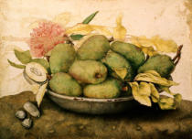 Giovanna Garzoni - Bowl with Plums and a Carnation