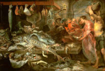 Frans Snyders - A fish market. Oil on canvas (ca. 1618)