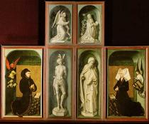 Rogier van der Weyden - Saints Sebastian and Antony / Annunciation to Mary / Founder portrait of chancellor Nicholas Rolin and his wife Guigone de Salin