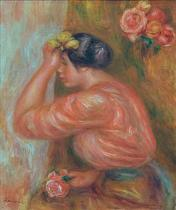 Pierre Auguste Renoir - Girl with roses in front of the mirror