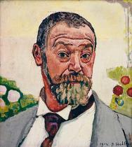 Ferdinand Hodler - Selfportrait with roses