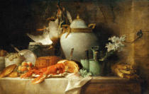 Anne Vallayer-Coster - Vase, homard, fruits et gibier