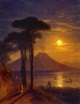 Iwan Konstantinowitsch Aiwasowski - Moonlit night at the Gulf of Naples: Mount Vesuvius