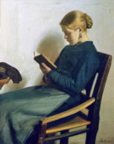 Michael Peter Ancher - A young girl reading, Maren Sofie Olsen