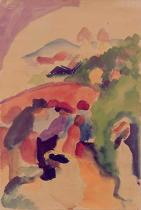 August Macke - Figuren in Berglandschaft