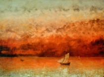 Gustave Courbet - Lake Geneva at sunset. Canvas Kunstmuseu