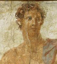 Wandmalerei - Head of Theseus, detail of a mural showi