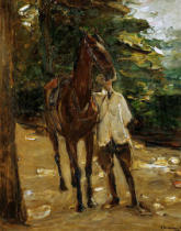 Max Liebermann - Groom with horse, 1912 Cardboard, 81 x 5