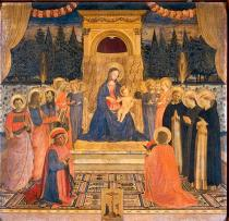 Fra Angelico - Mary with the Child, angels, eight saints & Christ on the Cross