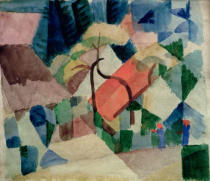 August Macke - Dorfhäuser in Gärten