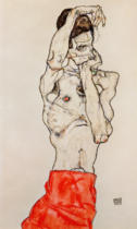Egon Schiele - Male nude, standing, with red loincloth