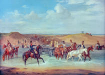 Albrecht Adam - The French crossing the Vopp between Duchowschtschina and Dorogabuz on 25th August 1812.