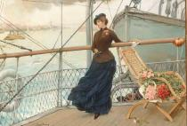 Henry Bacon - A Scottish Lady on a Boat Arriving in New York