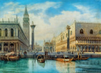 Herman David Salomon Corrodi - Ansicht der Piazzetta in Venedig