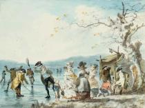 Julius Caesar Ibbetson - Skaters on the Serpentine, Hyde Park, London