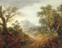 Thomas Gainsborough - Wooded Landscape with Figures, Bridge, Donkeys, Distant Buildings and Mountain