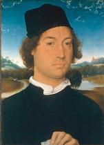 Hans Memling - Portrait of an unknow man on landscape background