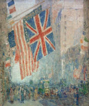 Childe Frederick Hassam - Union Jack, New York, April morning