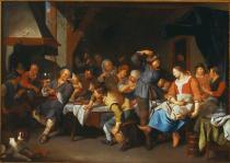Jacob Toorenvliet - A Tavern Interior with Peasants Merrymaking