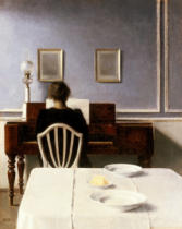 Vilhelm Hammershöi - Interior with a Girl at the Clavier