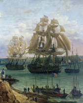 Louis-Philippe Crepin - Napoleon I and Empress Marie-Louise at the parade of the fleet under Admiral A.G.Troudet on 30 May 1811 in Cherbourg