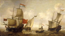 Jacob Adriansz Bellevois - A Dutch Merchantman with a Wijdschip and other Shipping off Amsterdam