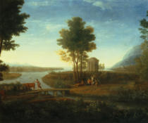 Claude Lorrain - A Classical River Landscape with the Rest on the Flight into Egypt