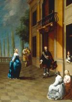 Hieronymus Janssens - Elegant Figures with a Lady and a Gentleman Dancing on a Terrace