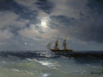 Iwan Konstantinowitsch Aiwasowski - Sailing ship in the moonlight on a calm sea