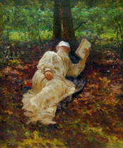Ilya Efimovich Repin - Leo Tolstoy during a rest in the forest.