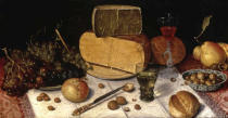 Floris Claesz. van Dyck - An Uitgestald Still Life of Grapes and Cheese on Pewter Plates...