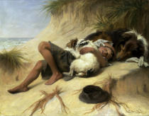 Margaret Collyer - A Child Sleeping in the Sand Dunes with a Collie
