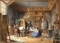 AKG Anonymous - The Artist's Studio-the Painter Drawing a Portrait while Ladies Examine a Portfolio