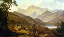 Samuel Mountjoy Smith - Blick über Elterwater mit Elterwater Hall auf die Langdale Pikes mit Pike O'Blisco, Harrison's Stickle und Pauey Arc in der Fern
