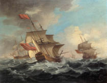 Peter Monamy - A British Man of War in a Strong Breeze with East Indiamen in the Distance
