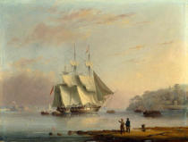 Nicholas Matthews Condy - A British Frigate off the Coast at Mount Edgecumbe, Plymouth