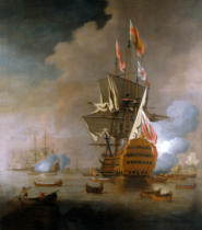 Peter Monamy - A Royal Party approaching a Flagship of the Red with Numerous Other Craft at Sea